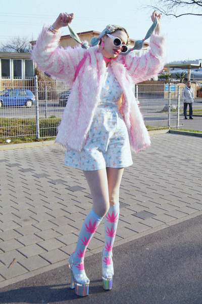 light pink fuzzy faux fur vintage coat - light blue pinafore DIY dress
