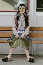 silver snake print Mango blouse - camel pineapple DIY sunglasses