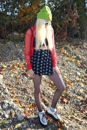 red vintage shirt - white creepers Demonia shoes - chartreuse beanie DIY hat