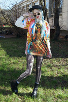 cream floral print thrift blouse - black platform vintage boots