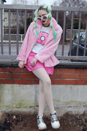 light blue donut DIY sweater - bubble gum faux fur vintage coat
