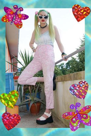 light pink floral vintage jeans - black collar thrifted necklace
