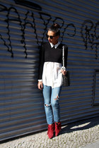 brick red blush shop boots - blue H&M jeans - black Mink Pink sunglasses