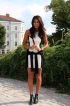 black Georgina boots - white blush shop dress - black Oliviacious sweater
