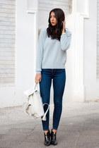 navy jeans - light blue united colors of benetton sweater - white bag