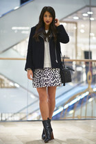 heather gray MSGM skirt - black Celine boots - black SANDRO jacket