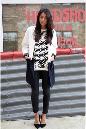 white Forever 21 sweater - black Aldo shoes - navy Zara jacket