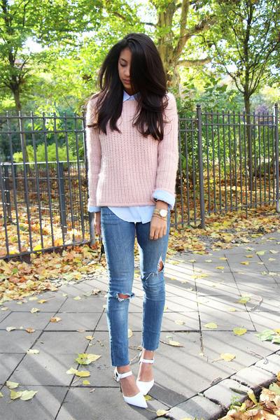 blue Zara jeans - light pink & other stories sweater - light blue H&M blouse