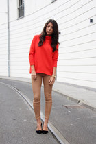 black Aldo heels - gold blush shop bracelet - nude Zara pants - red COS top
