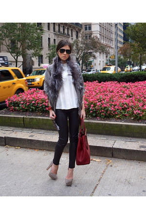 grey fox fur Gucci cape - grey suede Zara shoes - red dujour Fendi bag