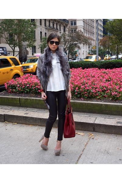 grey fox fur Gucci cape - grey suede Zara shoes - red dujour Fendi bag