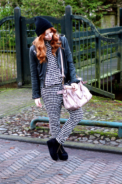 houndstooth asos pants - black platforms asos shoes - black beanie asos hat