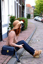floppy Topshop hat - Levis jeans - satchel Dahlia bag - lightening Dahlia blouse