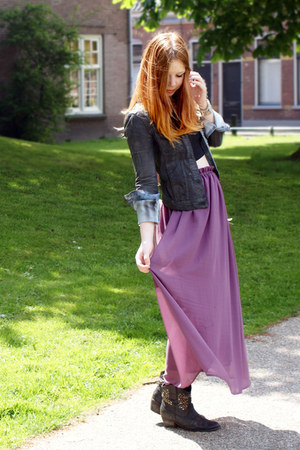 puce maxi romwe skirt - dark gray stdded boots - dark gray denim Zara jacket 01190841799c3