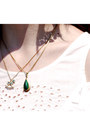Gold-rocking-horse-and-mary-necklace-dark-green-pendant-antique-necklace