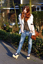 navy platform Topshop heels - sky blue boyfriend G-Star jeans
