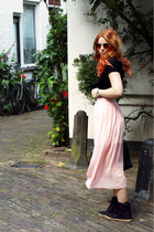 light pink pleated chiffon asos skirt - dark gray sneakers Topshop shoes