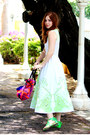 Lime-green-embroidered-asos-dress-hot-pink-duffel-asos-bag