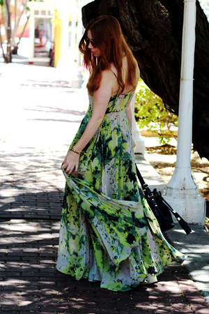 gold round asos sunglasses - chartreuse maxi Religion dress - duffle asos bag
