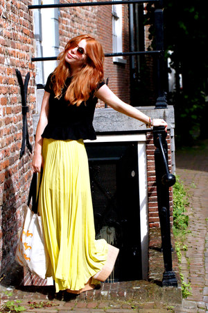 yellow plisse Jovonista skirt - neutral flatforms asos shoes