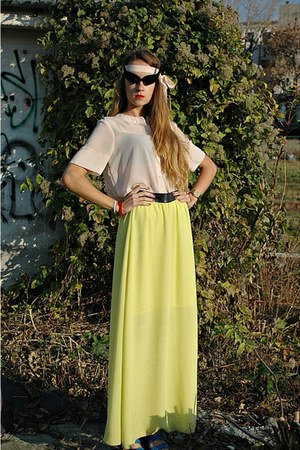light yellow chiffon me&m skirt - peach chiffon me&m blouse