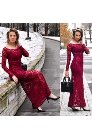 red Accessorize dress - black bag - black heels