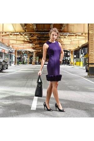 purple dress - black Prada heels