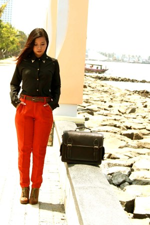 orange pants - vintage Forever21 boots - shirt - bag