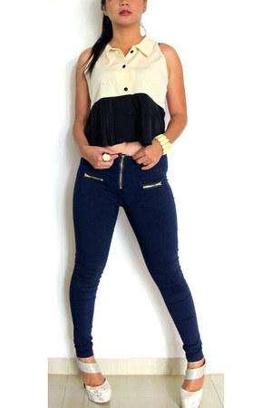 ivory short pleats shirt - navy gold zipper leggings - ivory Forever 21 bracelet