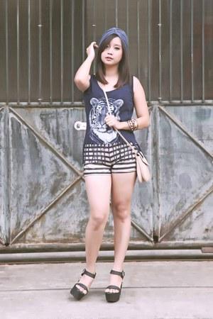Forever21 bag - stripes shorts - fringe top - black glitter UP wedges