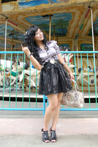 black dhievine skirt - black Gucci shoes - silver juzzie top
