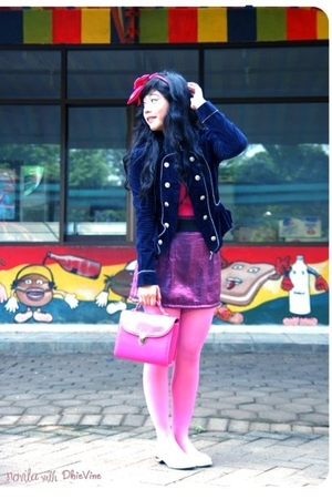 purple dhivine blazer - pink monic top - purple juzzie skirt - pink sugarlum wal
