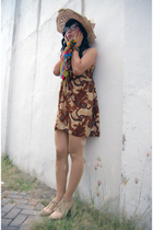 brown batik keris dress - gold dhivine scarf - brown streetstyle shoes - brown b