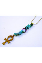 Turquoise Pearl and  Ankh Necklace