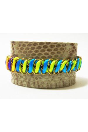 leather neon Nu Bambu bracelet