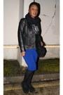 Blue-pencil-asos-skirt-black-leather-river-island-jacket