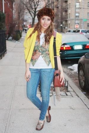 blue Levis jeans - yellow vintage blazer - brown Anne Klein loafers