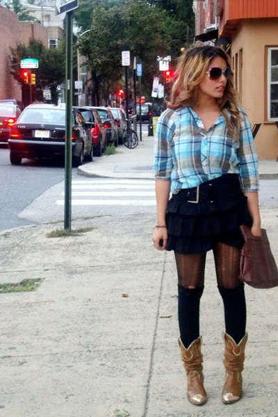 shirt - skirt - boots - purse - socks