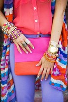 hot pink silk shirt - hot pink bag - chartreuse bag - chartreuse pumps