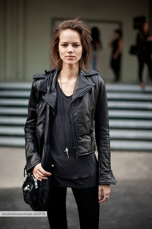 black leather unknown jacket