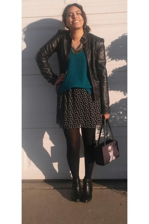 black Express jacket - teal sweater
