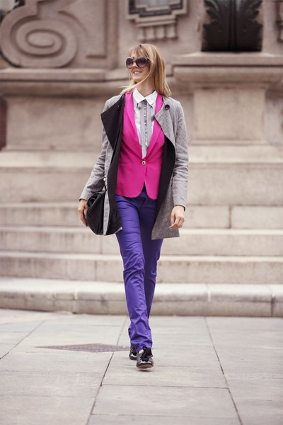 hot pink Zara blazer - black carlo pazolini shoes - silver armani coat