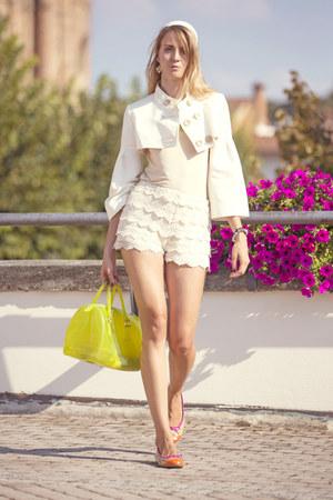 Elisabetta Franchi jacket - Furla bag - Zara shorts - Blumarine top