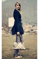 Criminal Damage coat - Burberry bag - liu jo pants