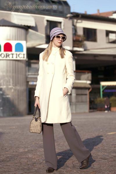 armani coat - Camomilla hat - Alviero Martini bag - oltre pants
