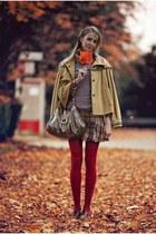 ruby red stockings - Gucci bag - mustard ffrankiemorello cape