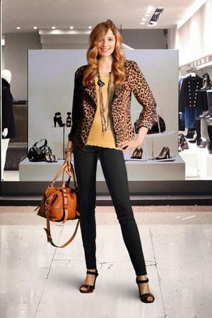 jacket - jeans - bag - heels - necklace - top
