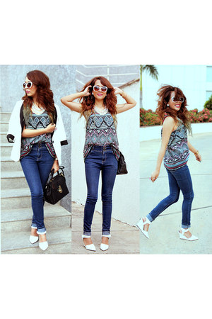 H&M necklace - Zara sunglasses - ikat kiosha top - H&M ring - chicnova wedges