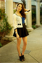 cream Forever 21 cardigan - black romwe skirt - blue top