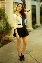 cream Forever 21 cardigan - black romwe skirt - blue top